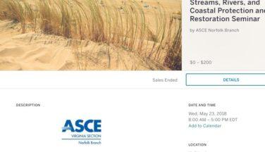 ASCE Spring 2018 Technical Seminar on May 23, 2018 at the Holiday Inn Norfolk, VA