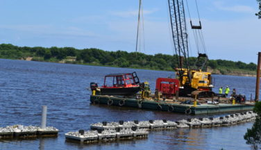 Extended waterfront reef protects Brunswick Town